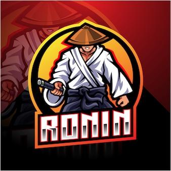 Ronin esport талисман дизайн логотипа