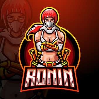 Шаблон логотипа талисмана ronin esport