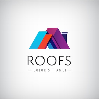 Roof for buildings logo isolated on gray