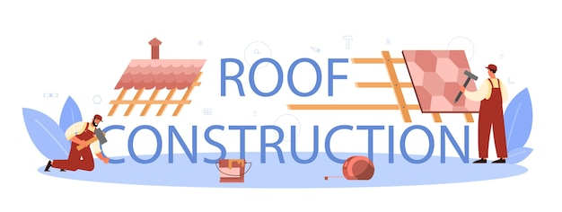 지붕 건설 노동자 인쇄상의 헤더