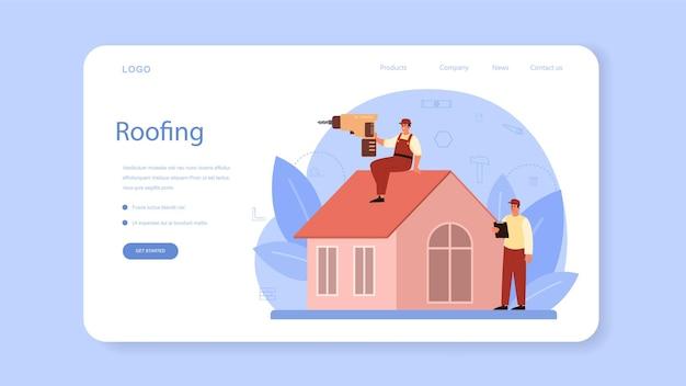지붕 건설 노동자 웹 배너 또는 방문 페이지. 건물 고정 및 주택 개조.