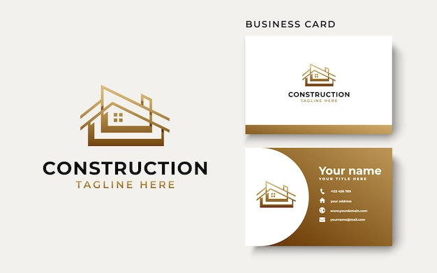 Шаблон логотипа градиента золота строительства дома крыши изолирован на белом фоне