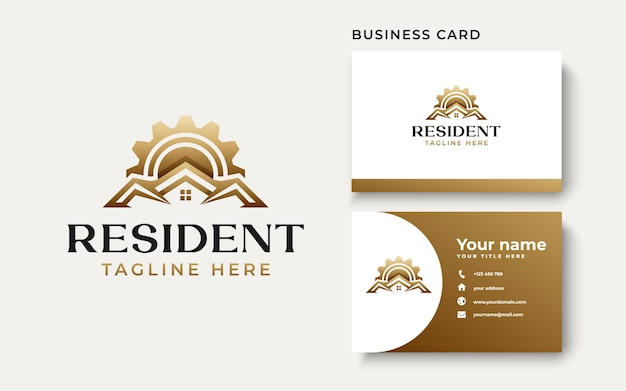 Roof house construction gold gradient logo template isolated in white background