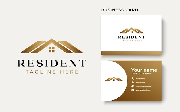 Roof house gold gradient logo template isolated in white background. vector illustration