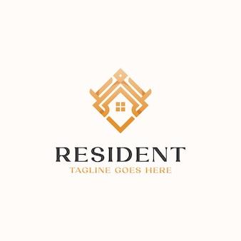 Roof house monogram logo template