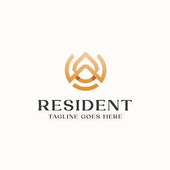 Шаблон логотипа монограмма дома на крыше