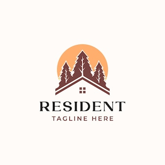 Roof house pine tree with sunset logo template isolated in white