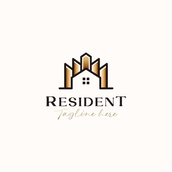 Roof house with building gold gradient gradient monoline logo template isolated in white background