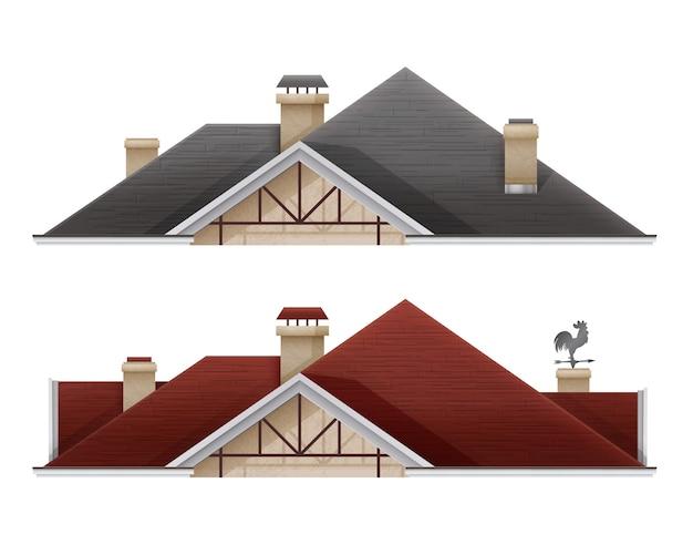 흰색 배경에 고립 된 기와 지붕 지붕 집