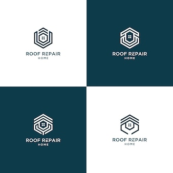 Roof repair home logo collection