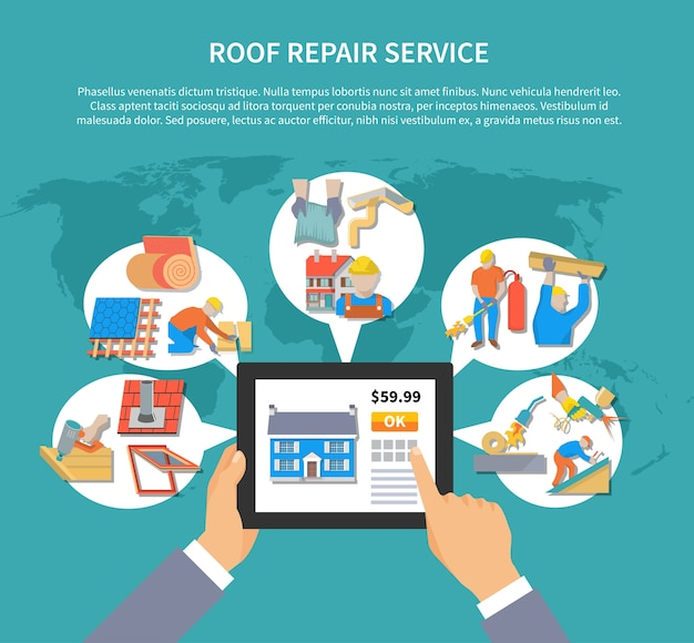 Roof repair service background template