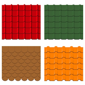 Roof tiles set collection of shingles and profiles seamless constructions patterns