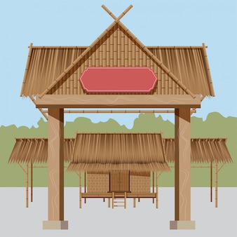 タイの田舎の家、からのroofき屋根は、民俗イベントの展示に適した村の入り口があります。