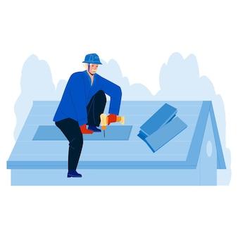 木製またはビチューメンシングルベクトルをインストールする屋根葺き職人。電子ドライバーで家の屋根を固定する屋根葺き職人。キャラクター修理工労働者修理職業フラット漫画イラスト
