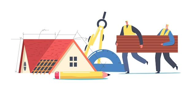 Roofers or workers male characters carry piece of bitumen or tiling for repair or designing cottage roof. home building renovation process, projecting, engineering. cartoon people vector illustration