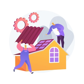 Roofing services abstract concept   illustration. roof repair, peak roofing contractors, house maintenance, leak inspection, new roof installation, storm damage, slope