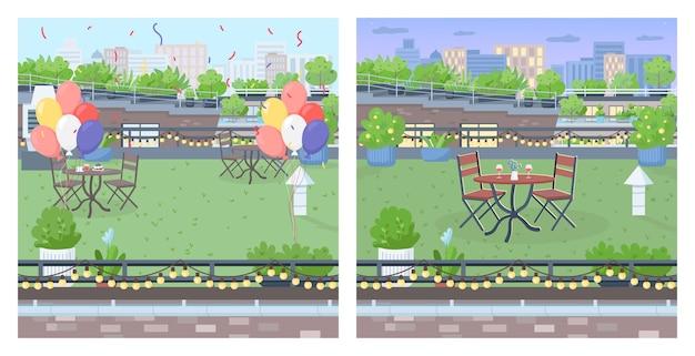 Крыша для вечеринки набор плоских цветных иллюстраций