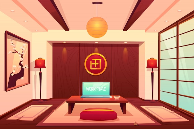 Room in asian style, empty apartment interior
