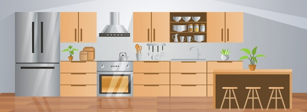 Room decoration of kitchen with gradient design