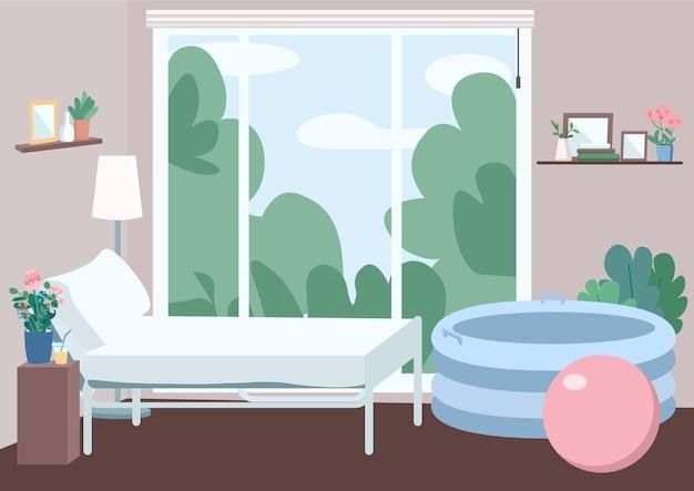 家庭出産用の部屋フラットカラーイラスト。母のためのベッド。ファミリーセンターのアパート。ラマーズ法用のインフレータブルタブとボール。背景にウィンドウとアパート2d漫画のインテリア