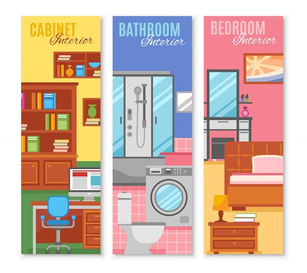 Room furniture banner set