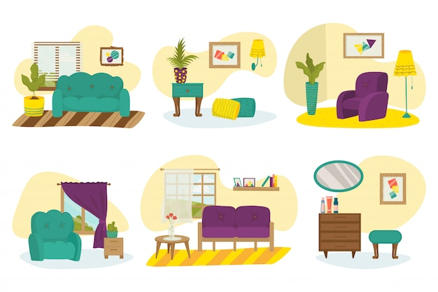 部屋の家具のインテリア、家のソファーセットイラスト、モダンなテーブル、リビングルームの装飾が付いている家のアパート。室内装飾スタイル、ランプ、椅子、ソファ、アームチェア。