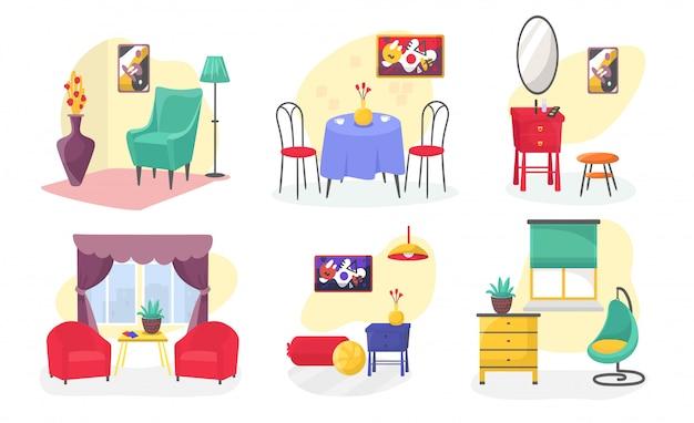 部屋の家具モダンなインテリアは、白で隔離漫画イラストを設定します。