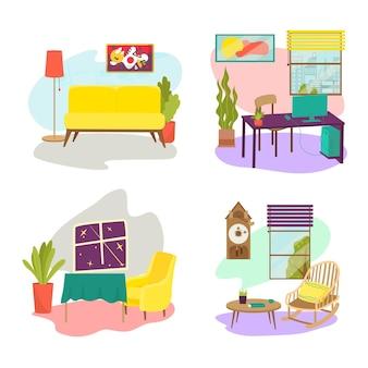部屋の家具セットのコンセプトは、快適なソファテーブルとアームチェアのデザインラウンジの場所フラットベクトをリラックス...
