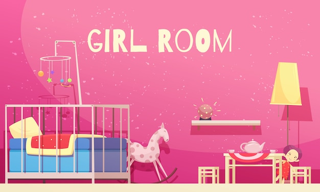 Room for girl with pink walls illustration