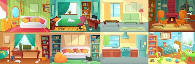객실 인테리어입니다. 침실, 거실, 주방, 가구가 비치된 어린이 침실. 침대, 테이블, 컴퓨터가 있는 십대 방. 장난감과 그림이 있는 어린이 또는 어린이 방. 아늑한 의자 벡터가 있는 벽난로.