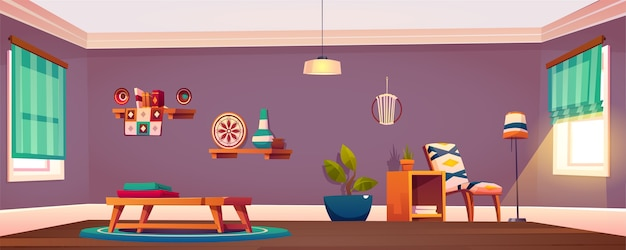 部屋のインテリア、アームチェア付きの空のアパート、フロアランプと鉢植えの植物とコーヒーテーブルのタオル
