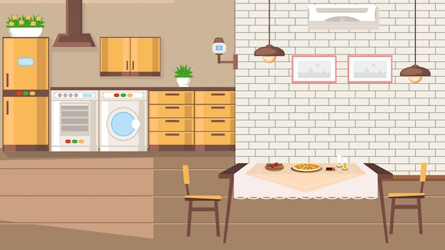 Room interior flat design vector illustration.