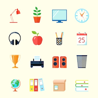Room interior flat icons set