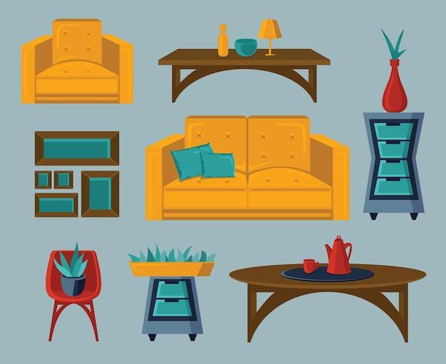 객실 내부. 홈 액세서리. 가구 디자인 벡터 세트입니다. 베개가있는 소파, 탁자, 플로어 램프, 램프 및 가정용 식물. 거실 인테리어 그림.