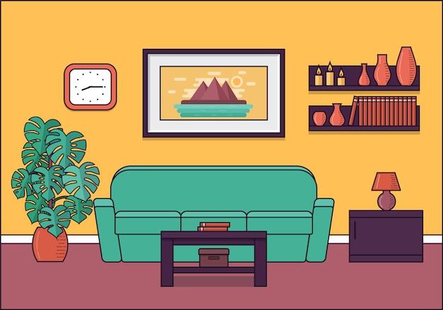 フラットなデザインの部屋のインテリア。図。