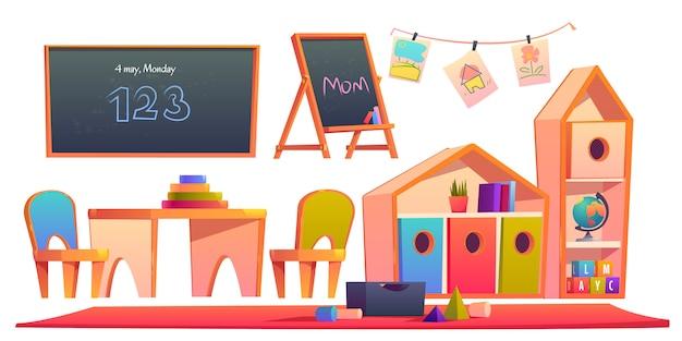 Интерьер комнаты в детском саду монтессори