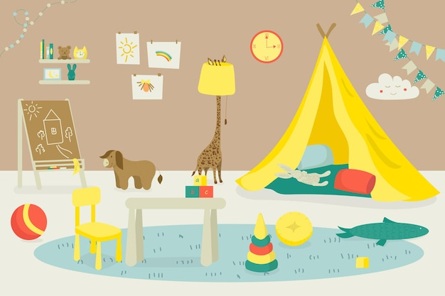 Room interior for kid indoor home furniture vector illustration house playroom design apartment with...