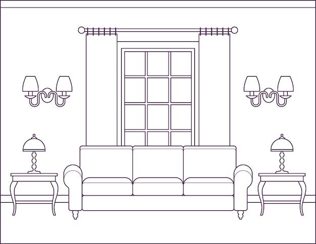 Интерьер комнаты. гостиная. домашний плоский дизайн с мебелью и окном. наброски эскиз дома сцена в стиле арт