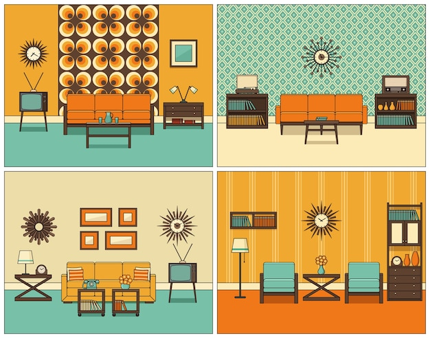 部屋のインテリア。レトロなリビングルーム。フラットなデザイン。ヴィンテージの背景