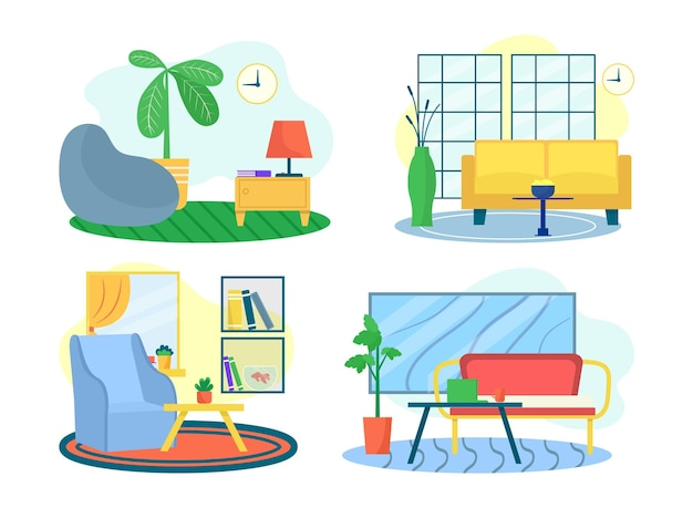 Room interior set, vector illustration. flat modern furniture for home design, apartment living room with table, sofa, armchair. house decoration