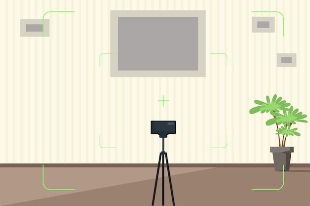 カメラのファインダーのイラストと部屋のインテリア。フォトスタジオ。漫画の壁、三脚のカメラ、空のフォトフレーム。背景の写真を撮るための場所。テキストとの背景