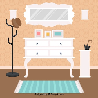 Room interior with cute furniture