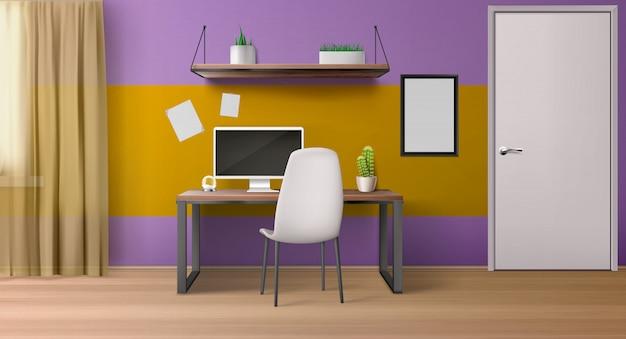 Интерьер комнаты, рабочее место с компьютером на столе, сиденье и полках.