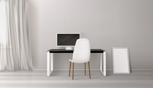 Интерьер комнаты, рабочее место со столом, сиденьем и пк