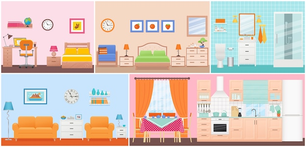 Room interiors.  living room, bedroom, bathroom, nursery, dining, kitchen in flat design. home inside. cartoon domestic apartment. set illustration