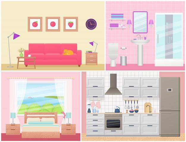 フラットなデザインの家具付きの部屋のインテリア。漫画家の機器。イラストを設定します。