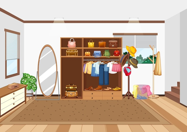 Room scene with closet and kids accessories