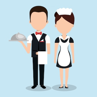 Room service hotel isolated icon
