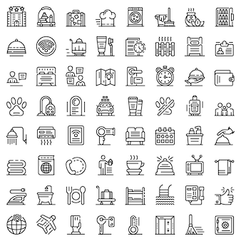 Room service icons set, outline style