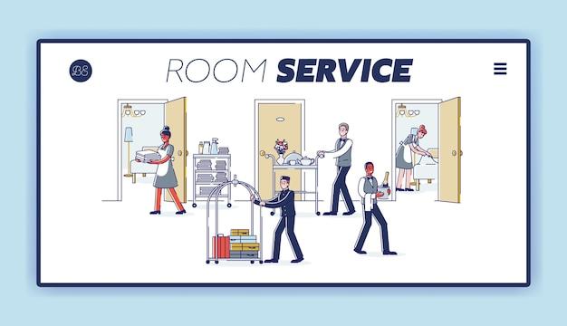 Целевая страница обслуживания номеров с мультипликационным персоналом отеля в униформе, обслуживающим посетителей.